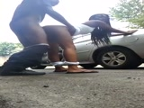 Friends caught fucking on the street